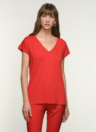 NGSTYLE NGKSS21TS0002 Basic Viskon Tişört Kırmızı